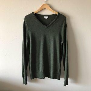 Merona forest green v neck cotton blend sweater